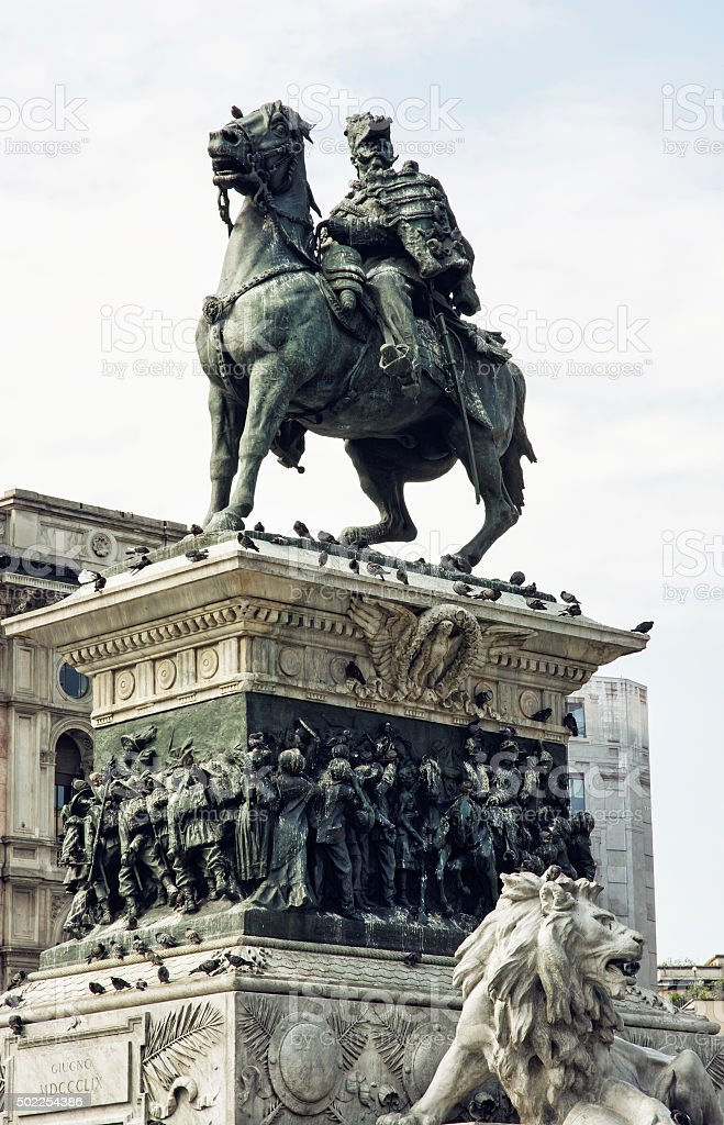 Equestrian statue of Vittorio Emanuele II in Milan city, Italy stock photo
