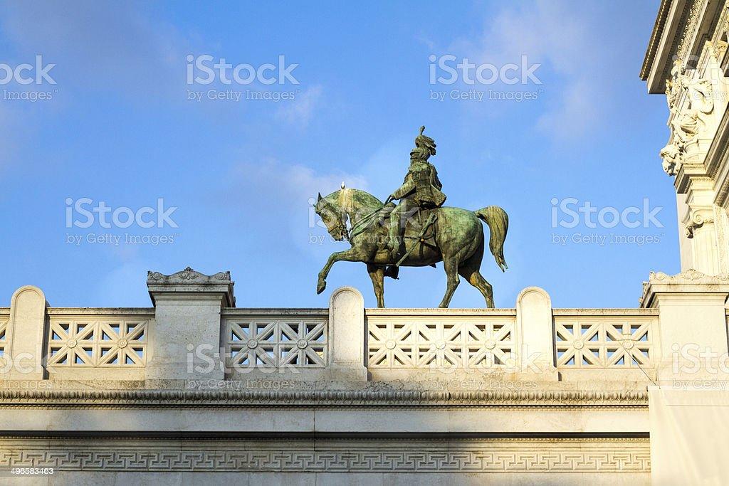 Equestrian Statue of Vittorio Emanuele II in Rome, Italy stock photo