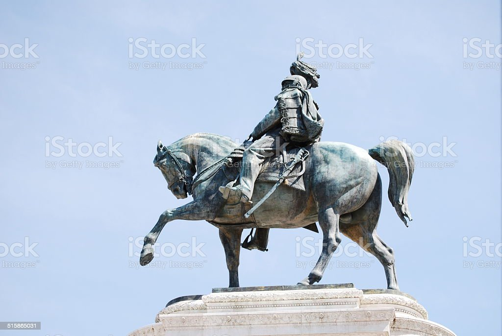 Equestrian Statue to Victor Emmanuel II in Rome, Italy stock photo