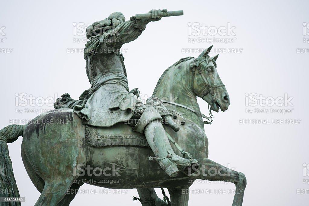 Equestrian statue Versailles stock photo