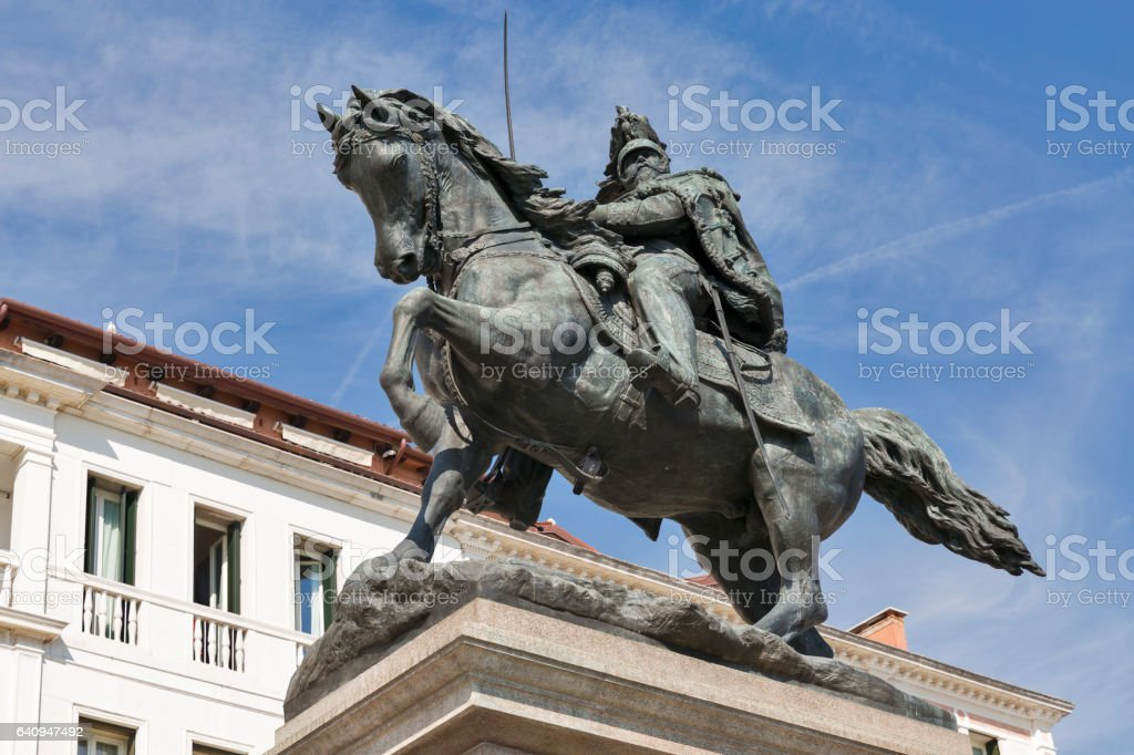 Equestrian Victor Emmanuel II monument closeup in Venice, Italy. stock photo