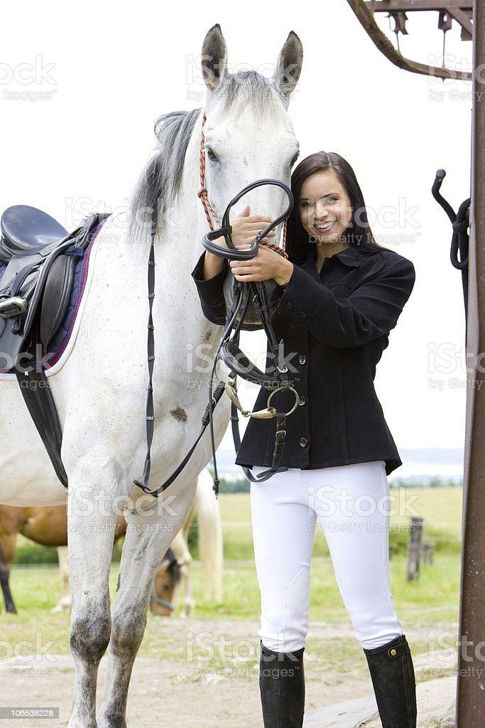 equestrian with horse royalty-free stock photo