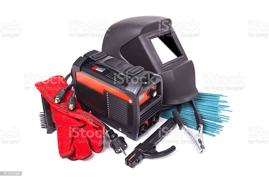 Equipment and protective clothing for welding stock photo
