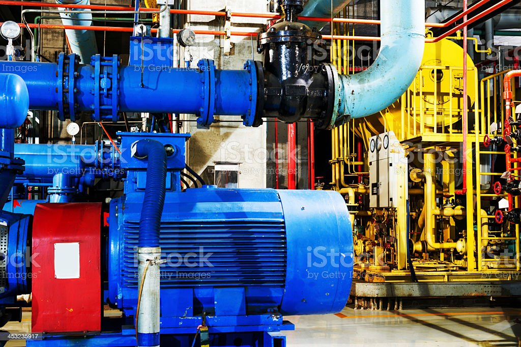 Equipment for a heating system in a modern boiling room stock photo