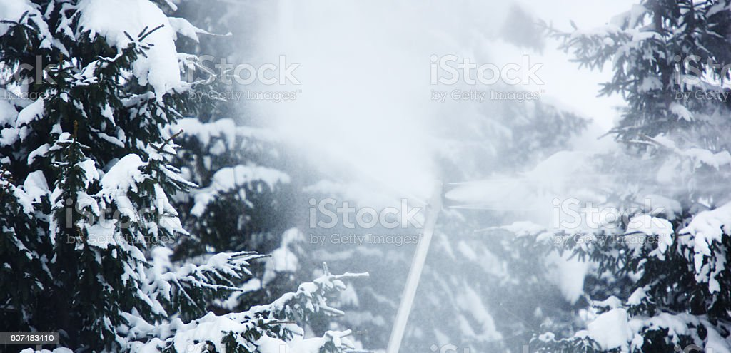 equipment for artificial snow stock photo