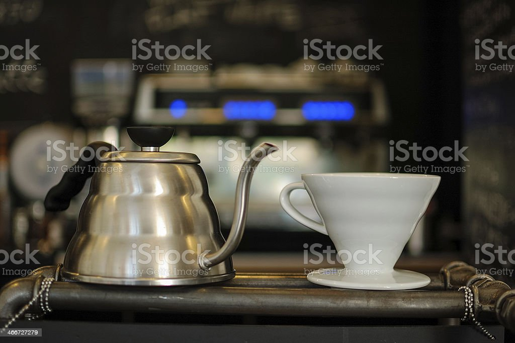 Equipment for coffee making stock photo