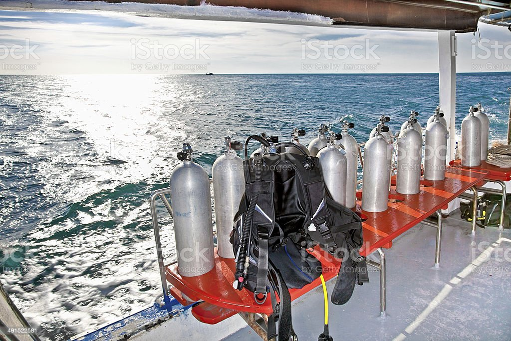 Equipment for divers on the boat in Cambodia. stock photo