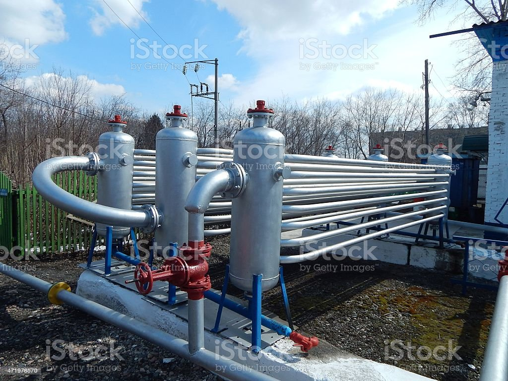equipment for foam fire suppression system. stock photo