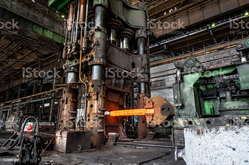 Equipment for pressing hot metal stock photo