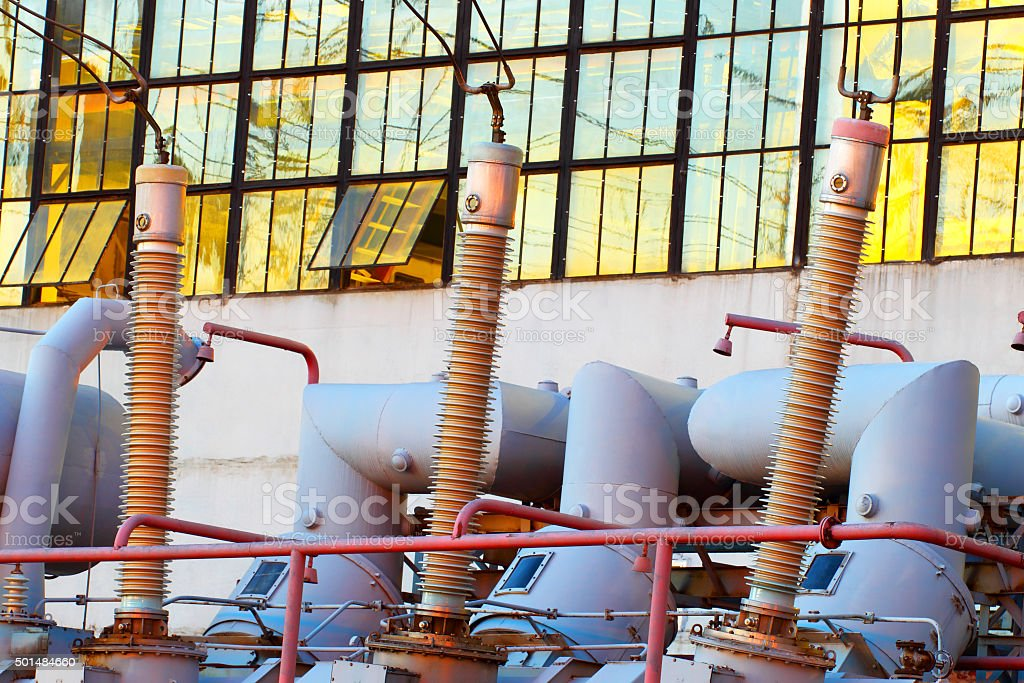 Equipment for production of electricity. stock photo
