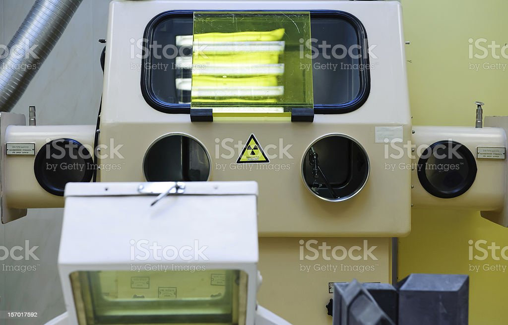 Equipment for production of radioactive injections stock photo