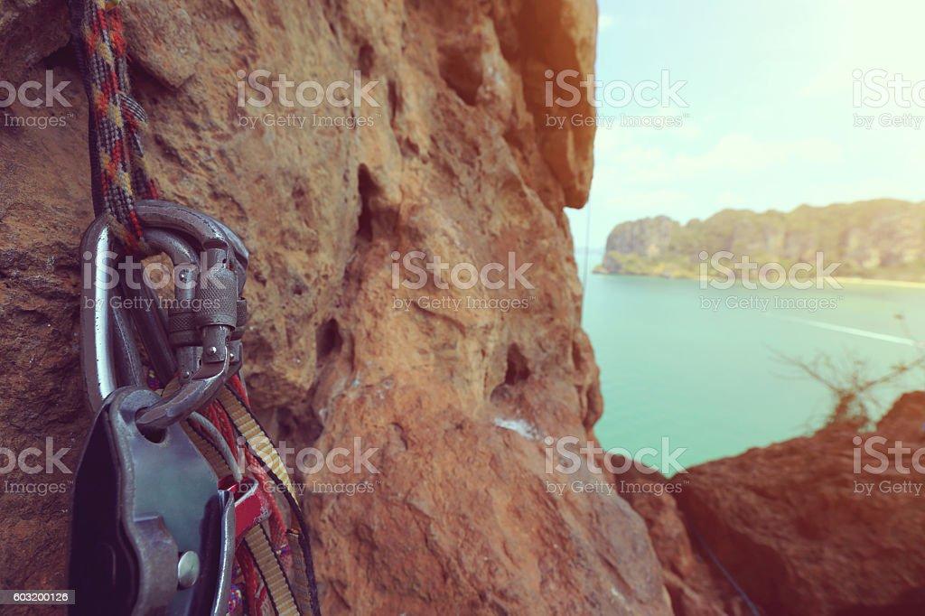 equipment  for rock climbing outdoor stock photo