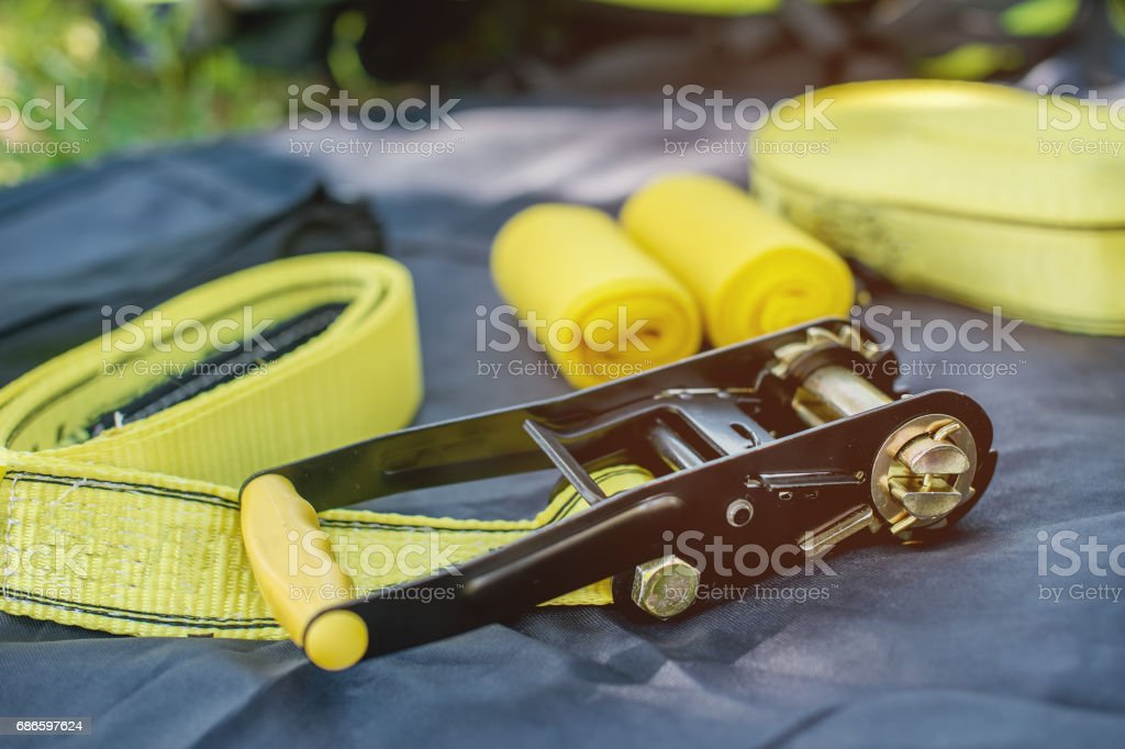Equipment for slackline Slackline sling next to the machine and protection for the tree stock photo