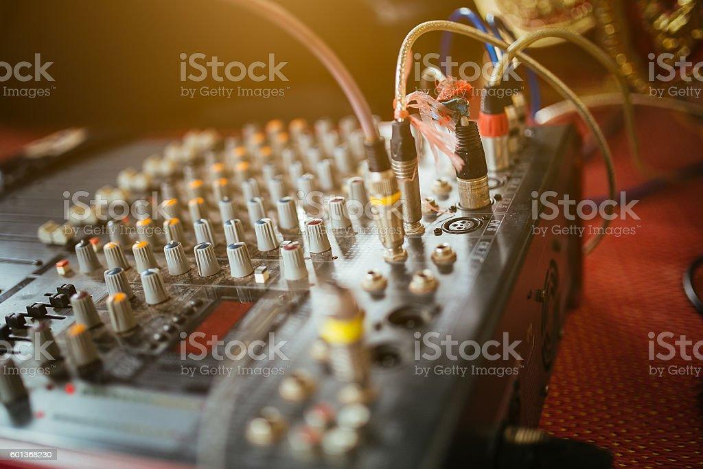 equipment for sound mixer control stock photo