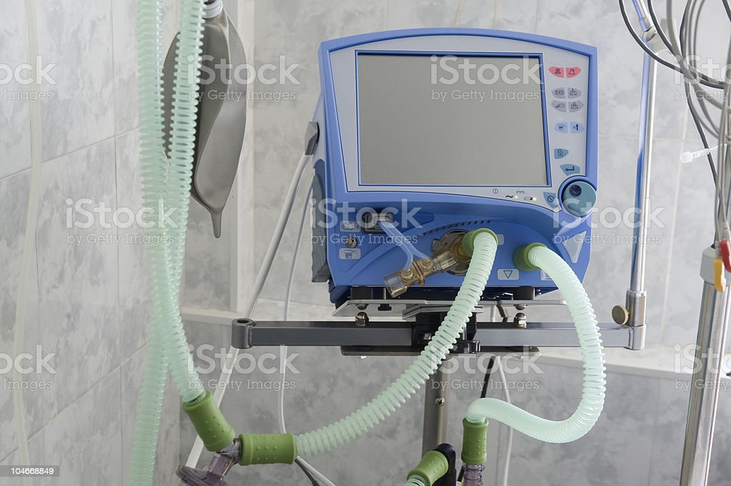 Equipment for ventilation of patient in operating-room stock photo