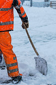 Equipment from worker who sweep snow
