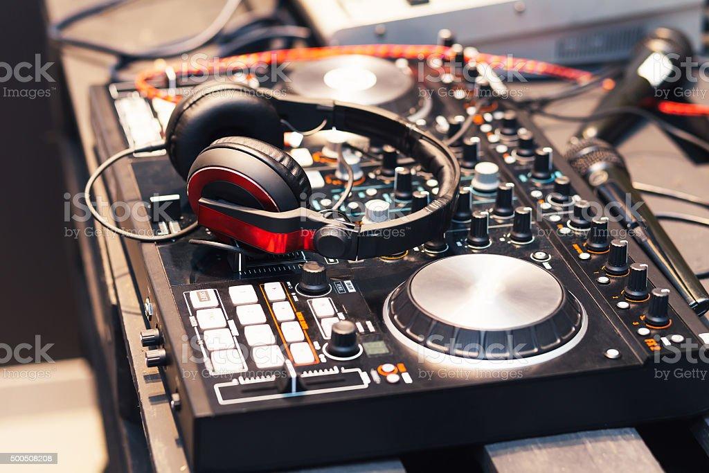 DJ equipment, headphones, microphones, vinyl stock photo