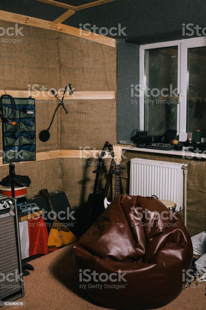 Equipment in old recording music studio stock photo