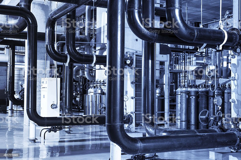 Equipment  inside industrial power plant stock photo