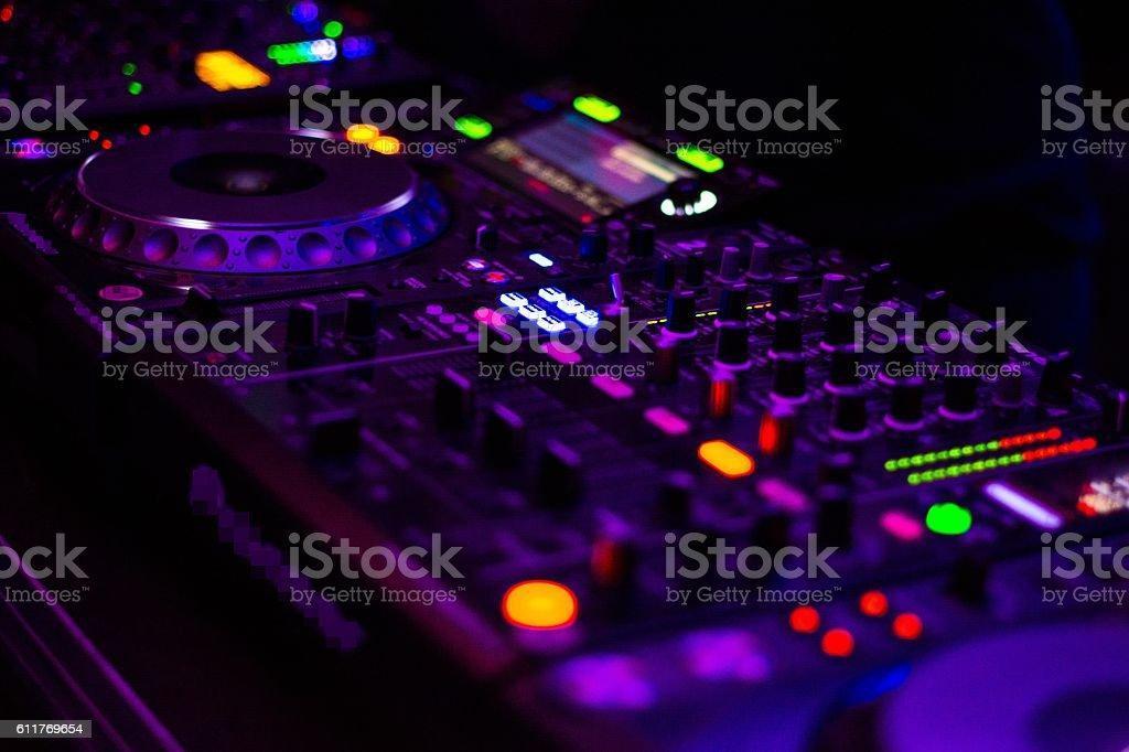 DJ equipment mixing board. stock photo