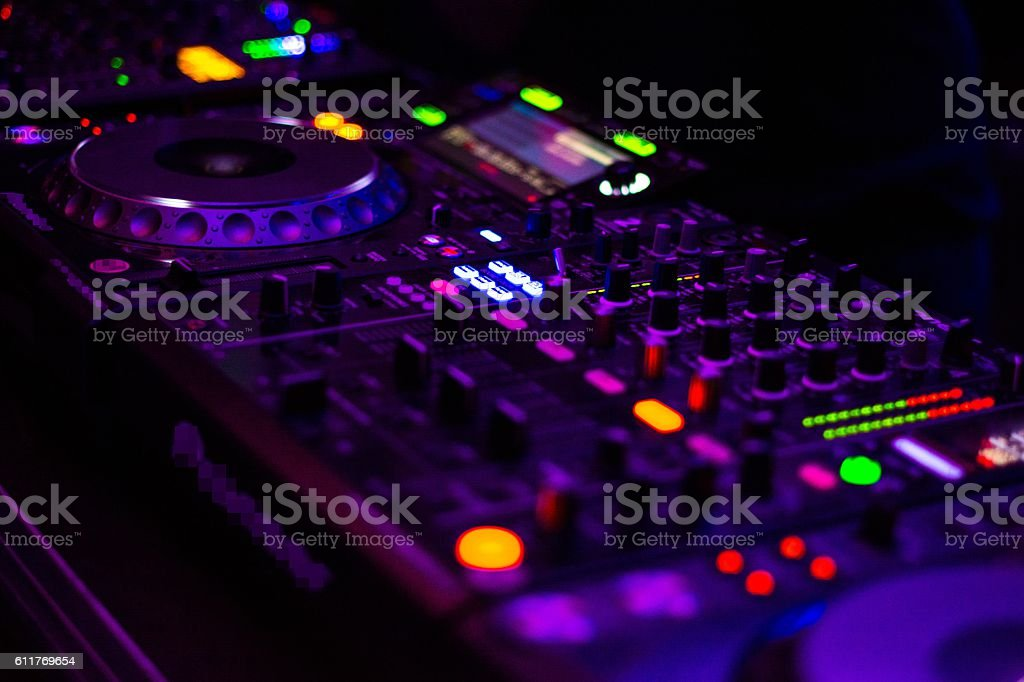 DJ equipment mixing board. stock photo