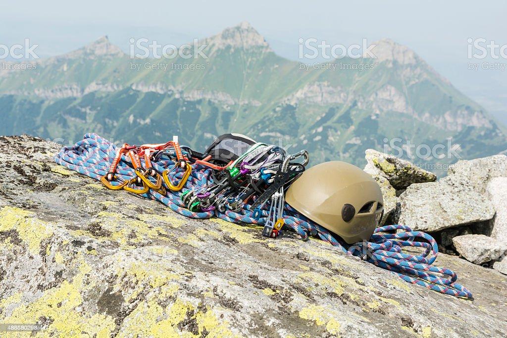 Equipment mountaineer to climb the mountain stock photo