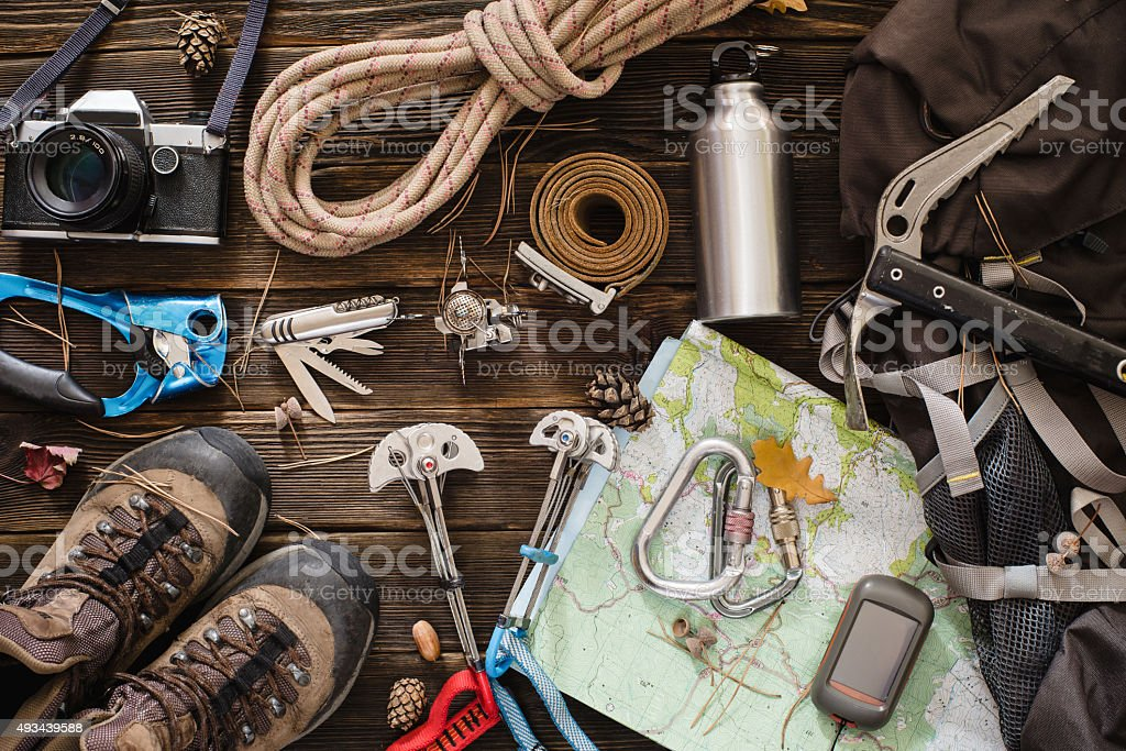 Equipment necessary for mountaineering and hiking stock photo