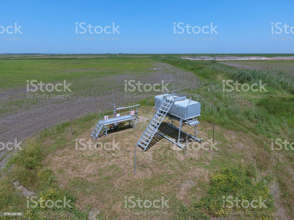 Equipment of an oil well stock photo