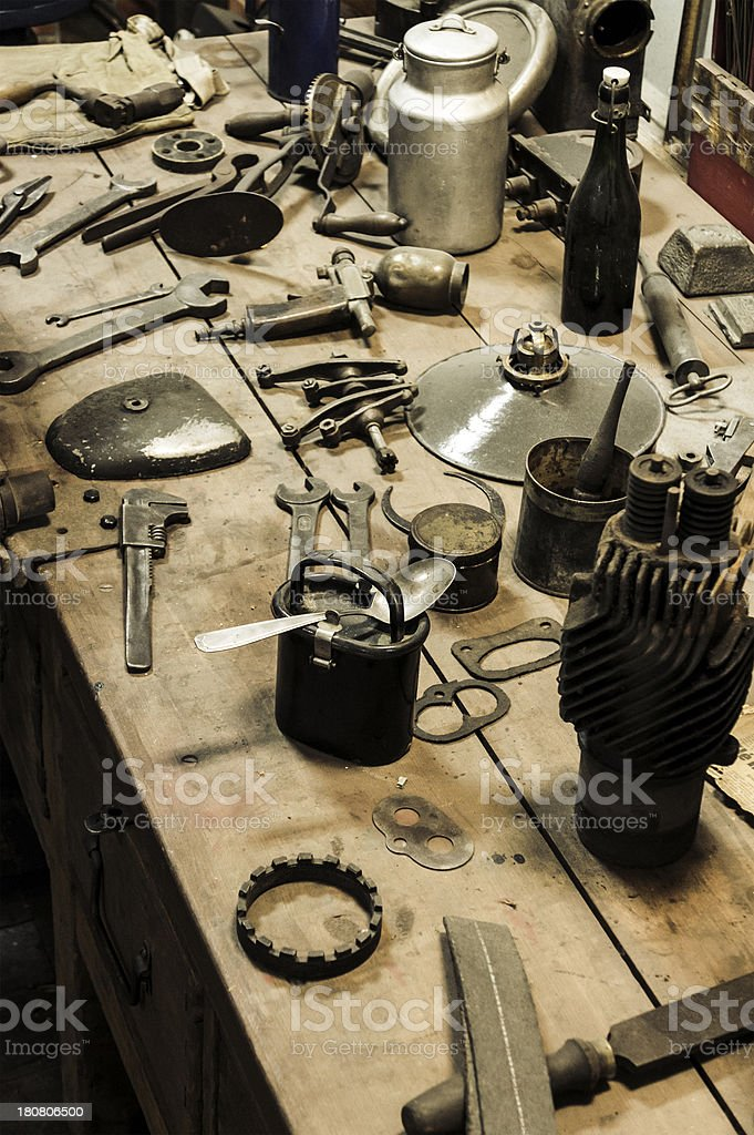 Equipment of an old garage, auto repair shop royalty-free stock photo