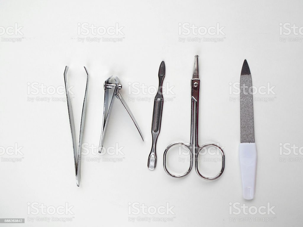 Equipment of manicure and pedicure stock photo