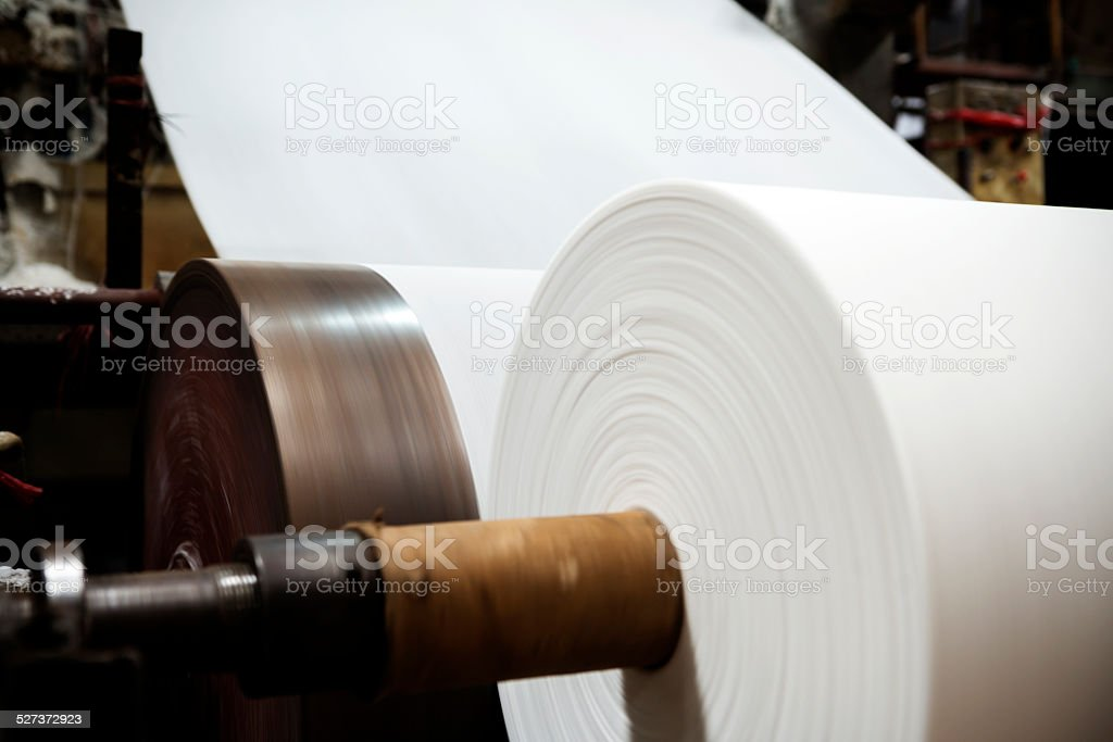 equipment of paper mill stock photo