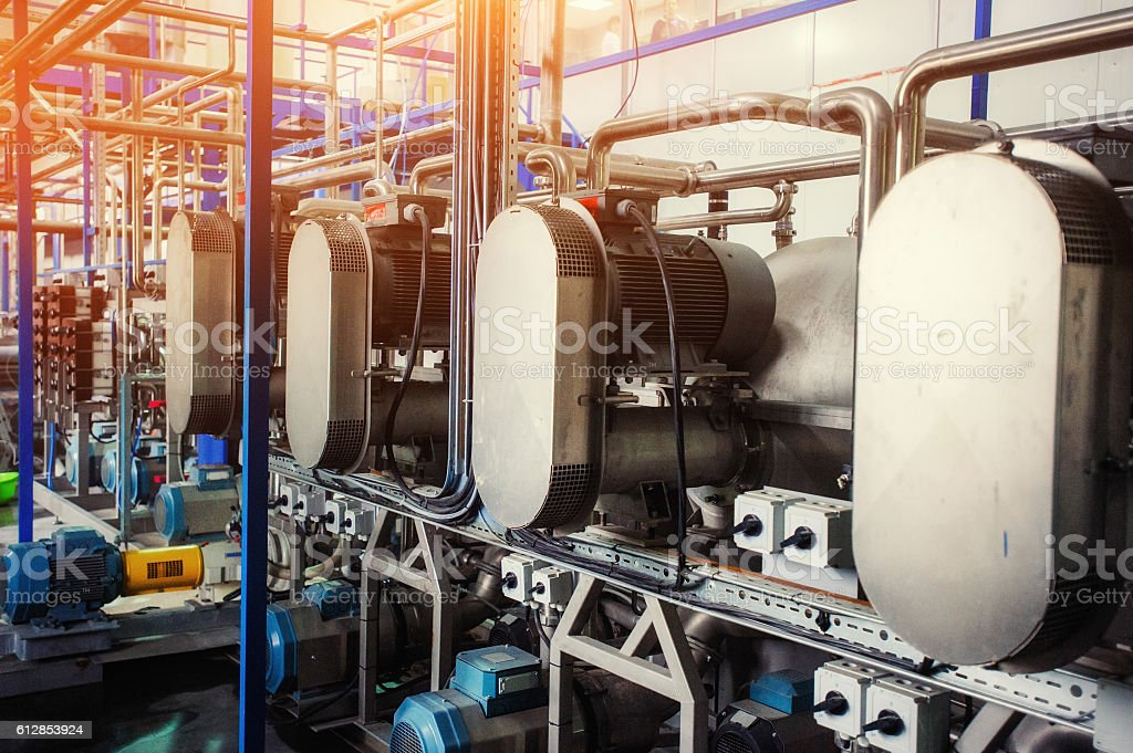 Equipment of the technology for making starch, stock photo