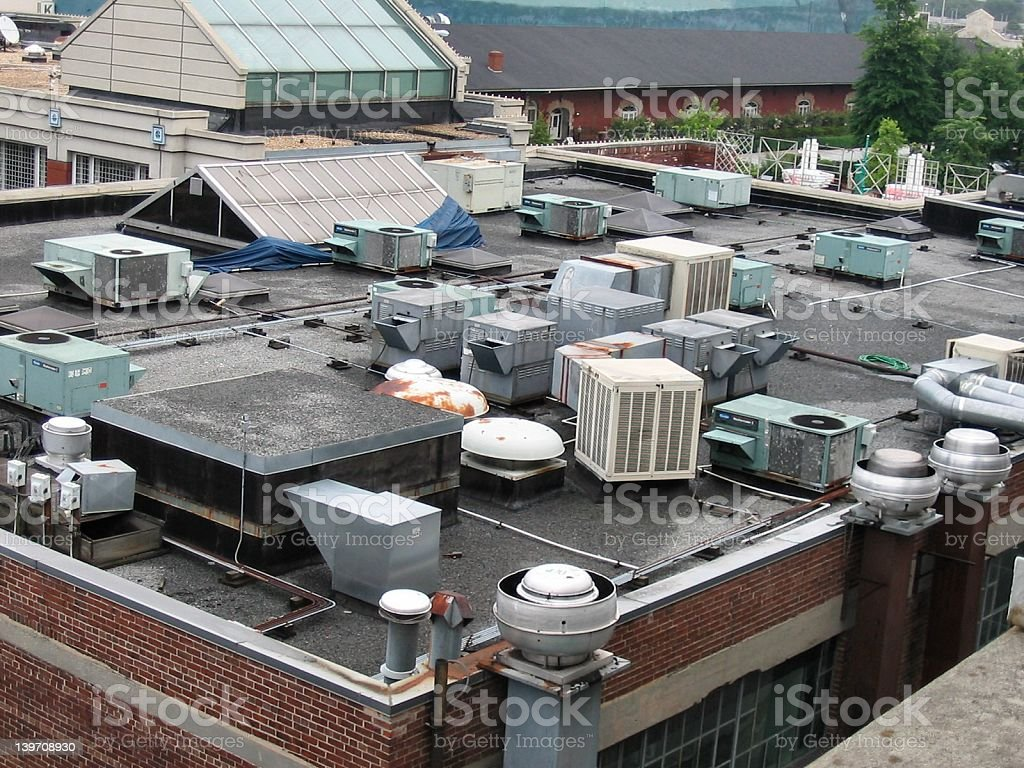 Equipment on rooftop royalty-free stock photo