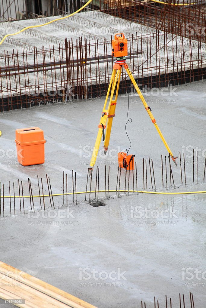 equipment theodolite tool at construction site royalty-free stock photo