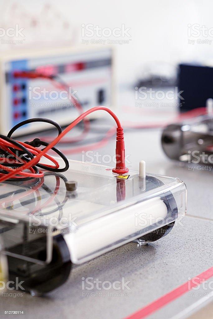 Equipment to run gels in modern laboratory stock photo