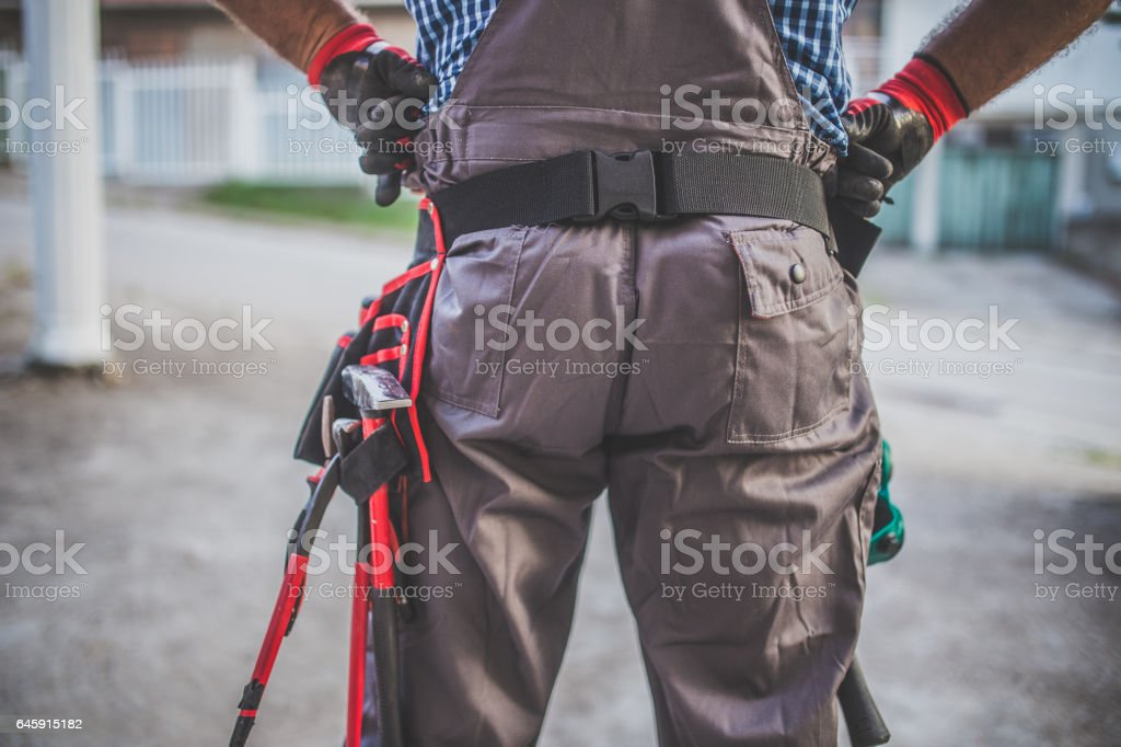 Equipped manual worker stock photo