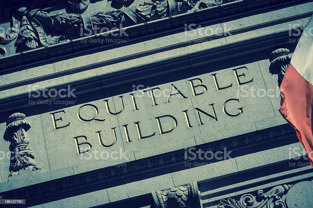 Equitable Building Text in New York stock photo