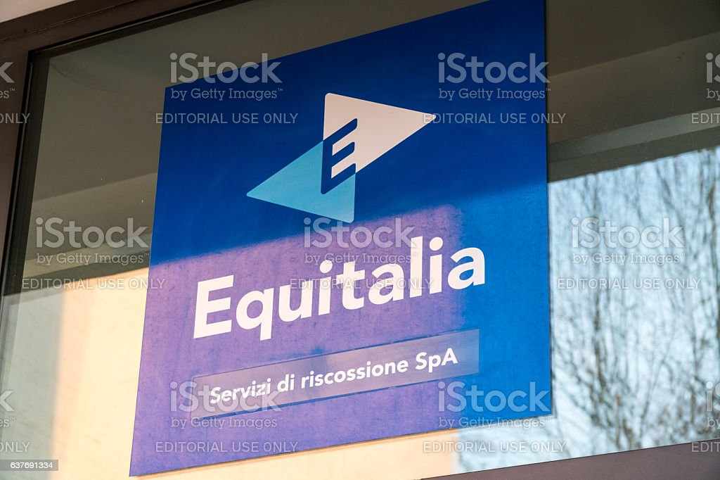 Rome, Italy - December 22, 2016: Equitalia signboard stock photo