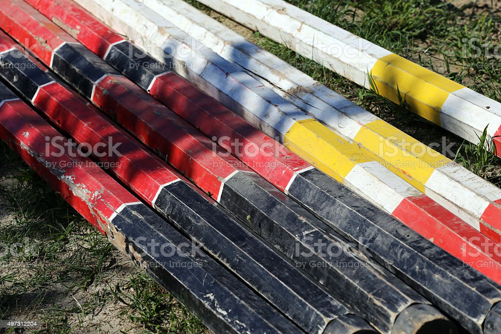 Equitation obstacles bars for horse jumping event stock photo