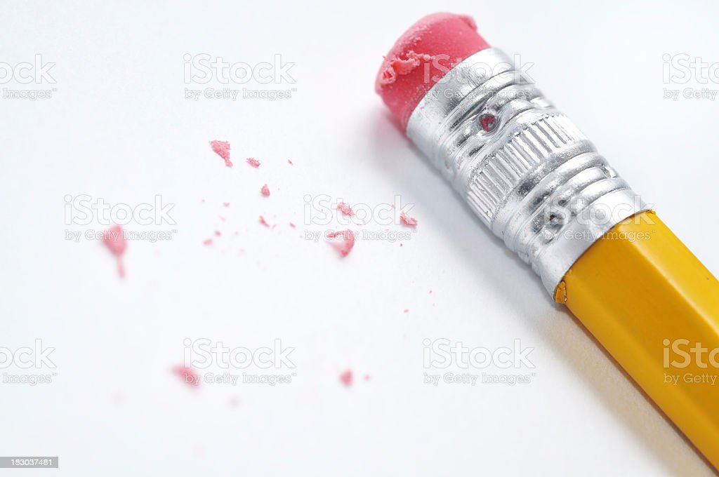 Erasable pencil with worn rubber over a white surface royalty-free stock photo