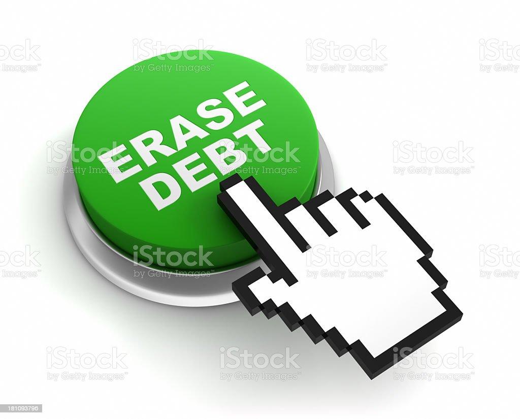 erase debt button stock photo
