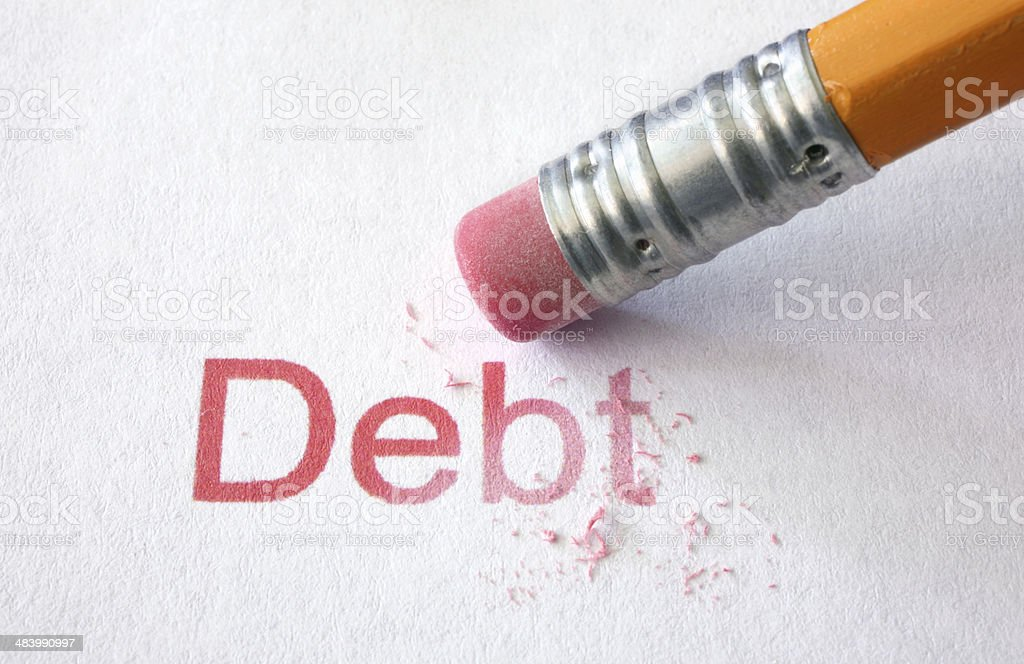 Erase Debt stock photo