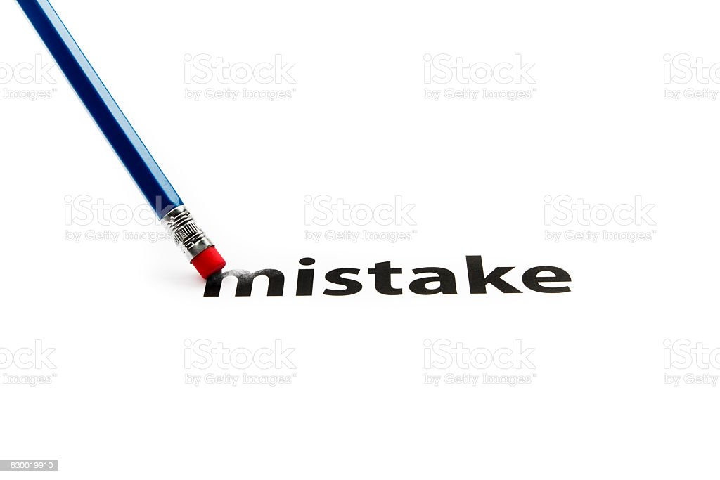 Eraser and a mistake concept stock photo