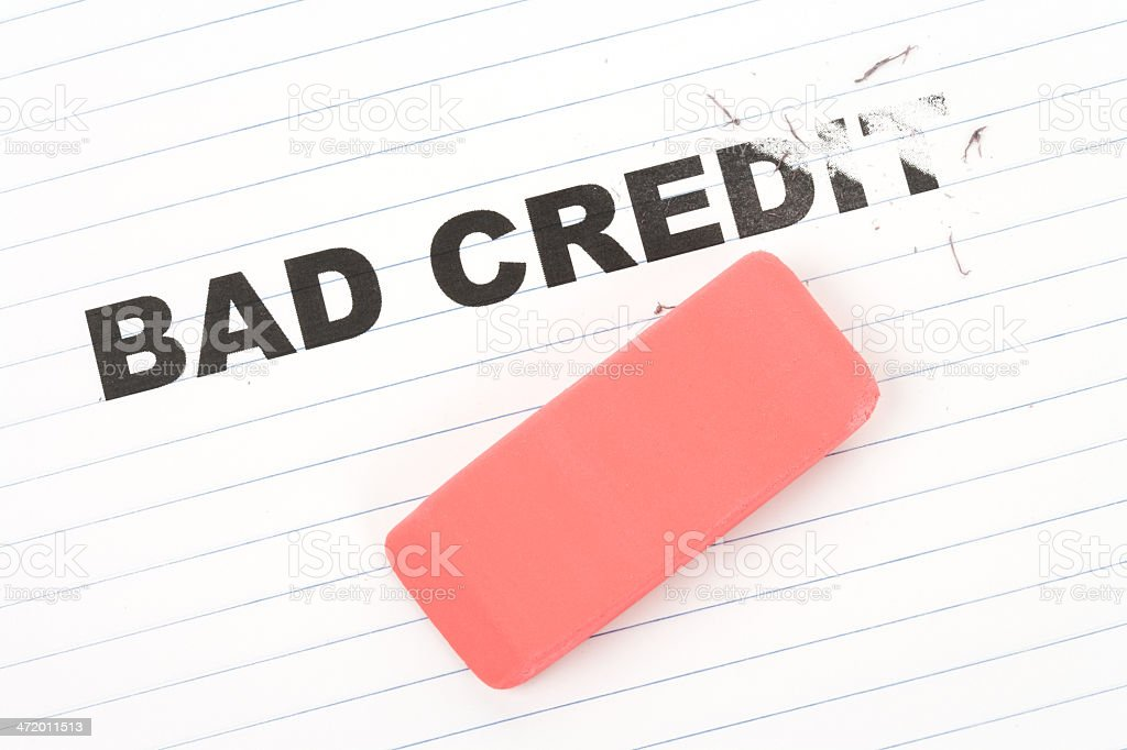 eraser and word bad credit stock photo