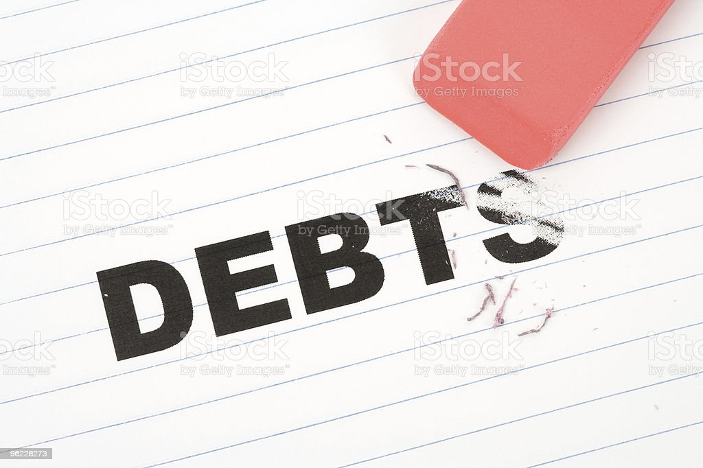 eraser and word debt stock photo