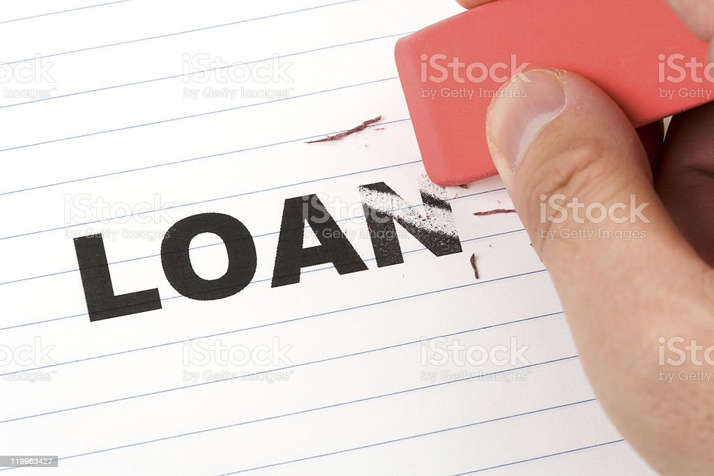 eraser and word loan stock photo