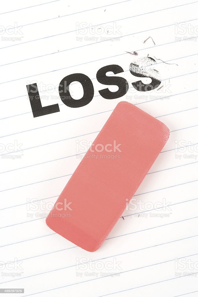 eraser and word loss stock photo