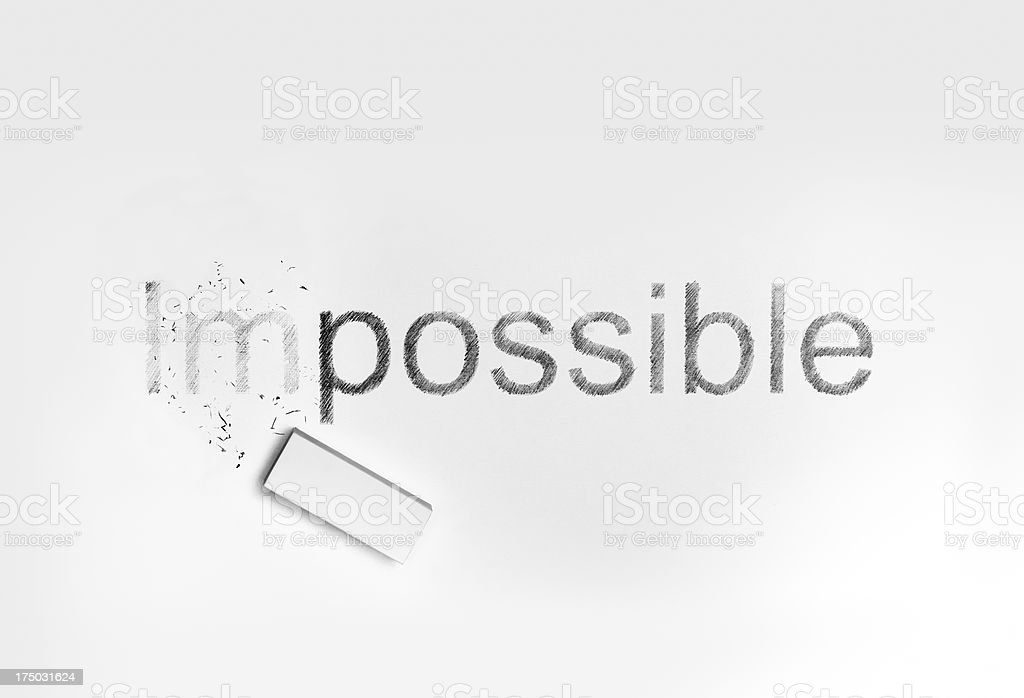 Eraser and words 'Impossible', 'possible' royalty-free stock photo