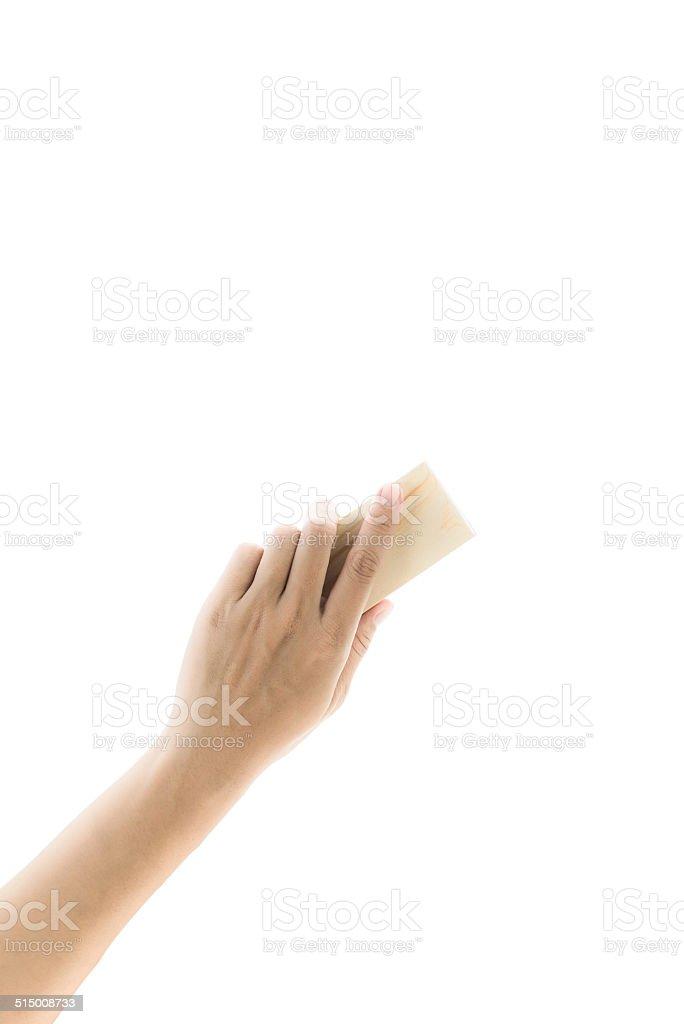 Eraser  board  in hand stock photo
