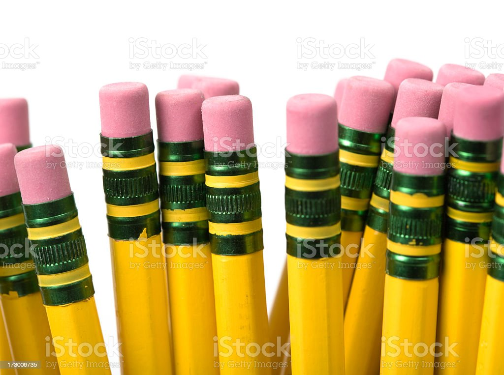 Eraser end of pencils on white background  royalty-free stock photo